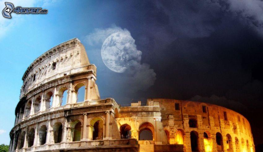 Kolosseum, dzień i noc, Rzym, Włochy, księżyc, chmury