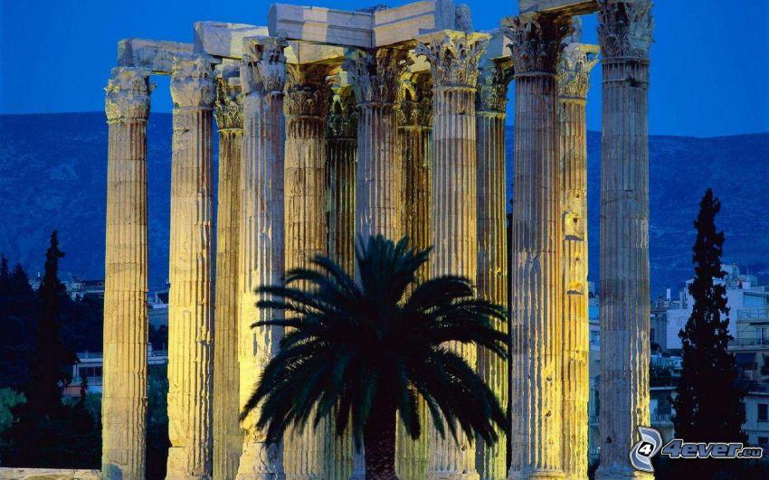 kolumny, palma, Grecja