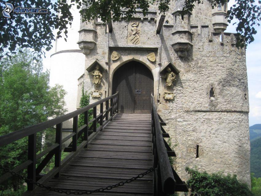 Lichtenstein Castle, drewniany most, brama