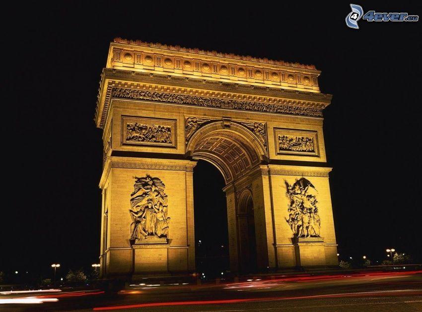 Łuk Triumfalny, Paryż, noc, oświetlenie