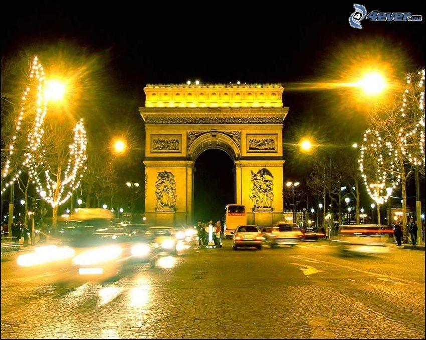 Łuk Triumfalny, Paryż, noc