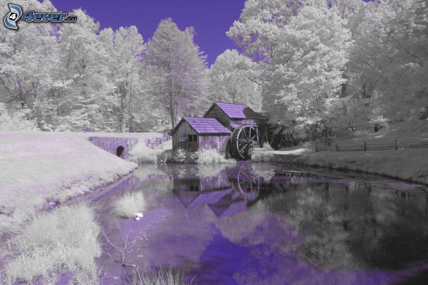 Mabry Mill, śnieżny krajobraz, rzeka, odbicie