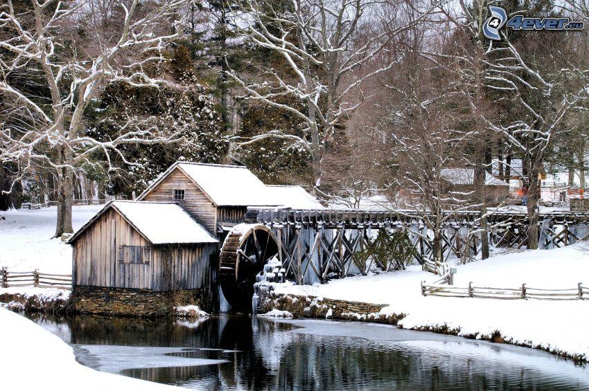 Mabry Mill, śnieżny krajobraz, rzeka
