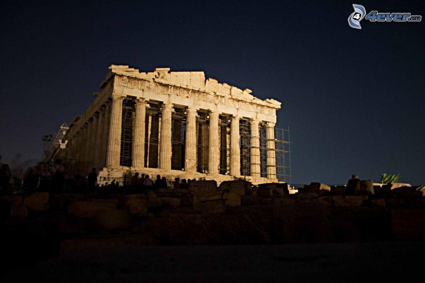Partenon, Ateny, noc