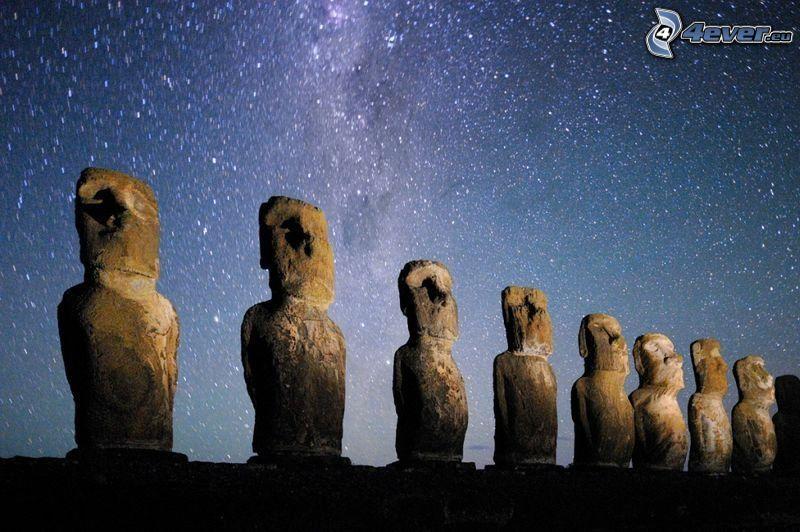 posągi Moai, wyspy wielkanocne, gwiaździste niebo
