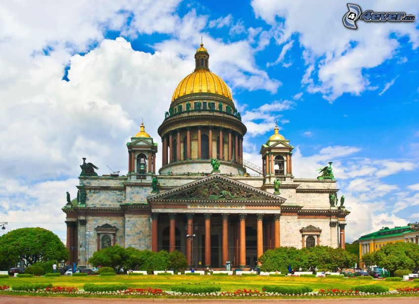 Sobór św. Izaaka, Petersburg, chmury, HDR