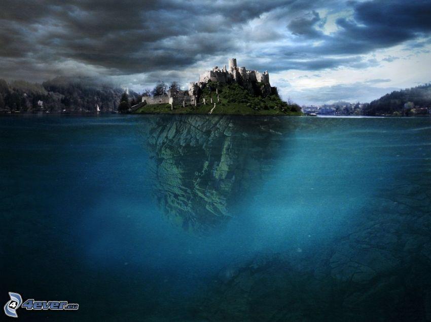 Spiski Zamek, wyspa, chmury