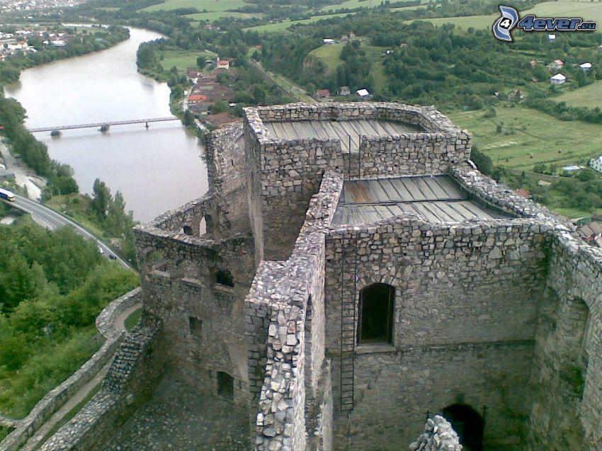 Strečno, zamek, ruiny, Wag, rzeka, most, widok