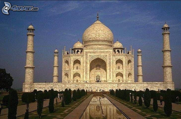 Taj Mahal, woda, drzewa