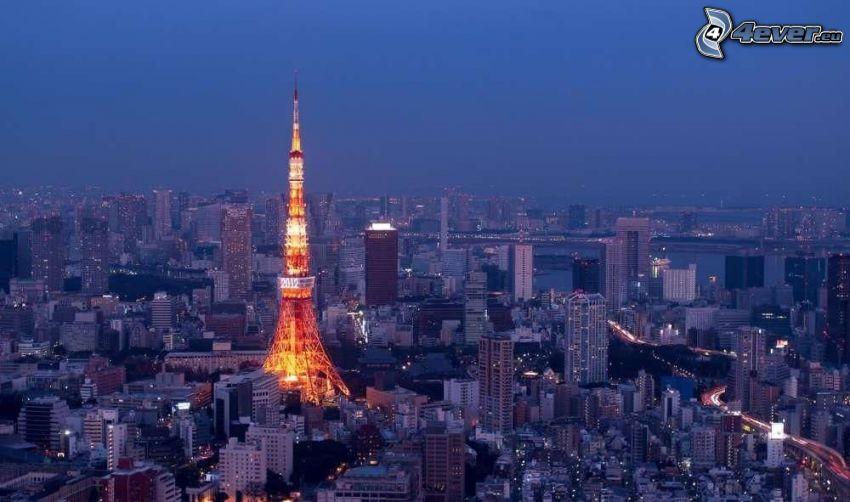 Tokyo Tower, miasto nocą