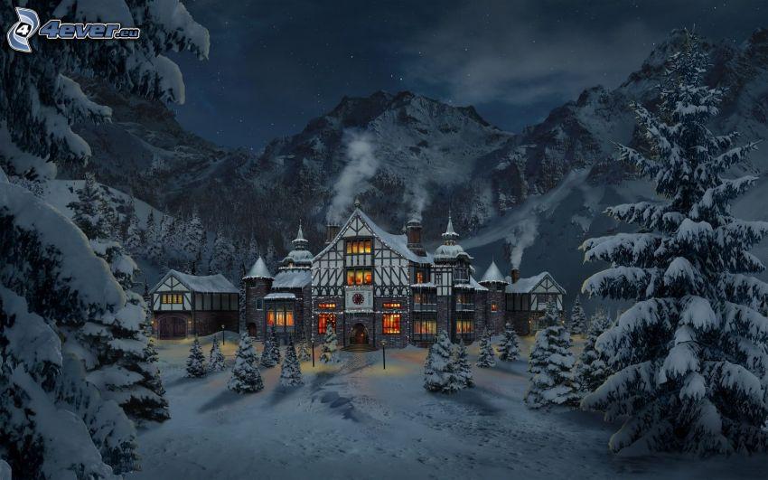 Warsztat Świętego Mikołaja, biegun północny, góry, bajka