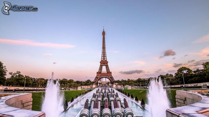 Wieża Eiffla, fontanna, Paryż
