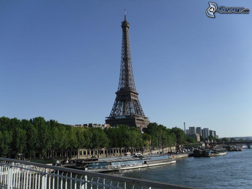 Wieża Eiffla, Seine, drzewa, Paryż, Francja