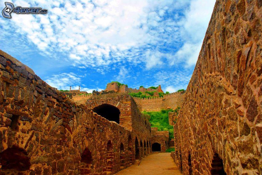 zamek, mury, z kamienia