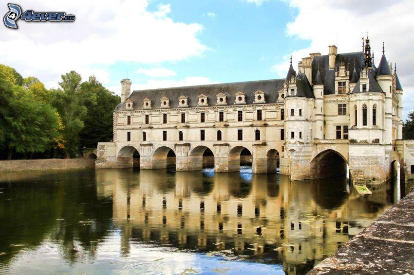 zamek, rzeka, Francja