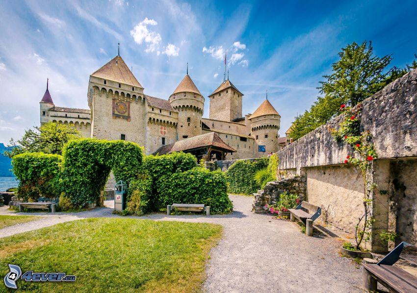 Zamek Chillon, chodnik, HDR, ławki