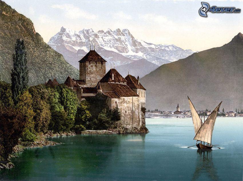 Zamek Chillon, statki, rzeka, pasmo górskie