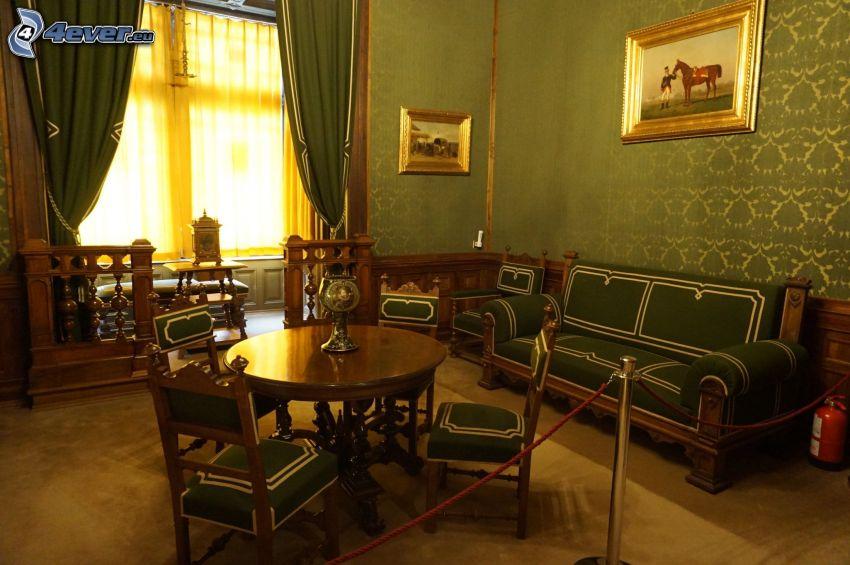 Zamek Peles, wnętrze, kanapa, obrazy