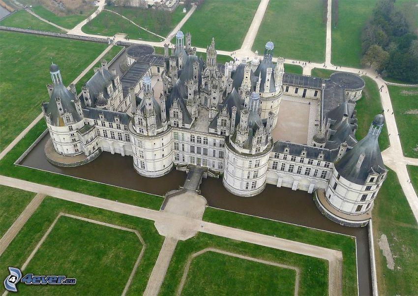 Zamek w Chambord, widok z lotu ptaka