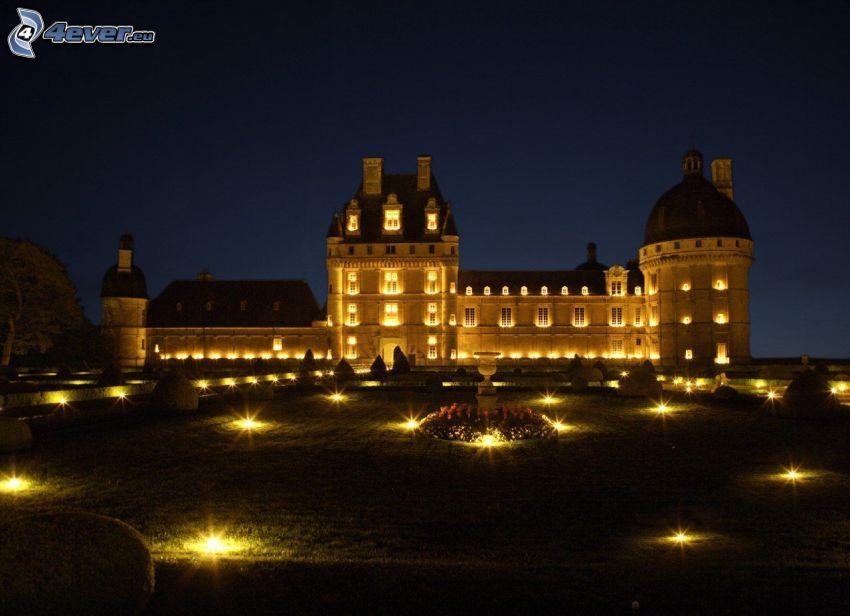 zamek w Valençay, noc