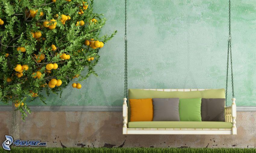 huśtawka, pomarańcz, ściana