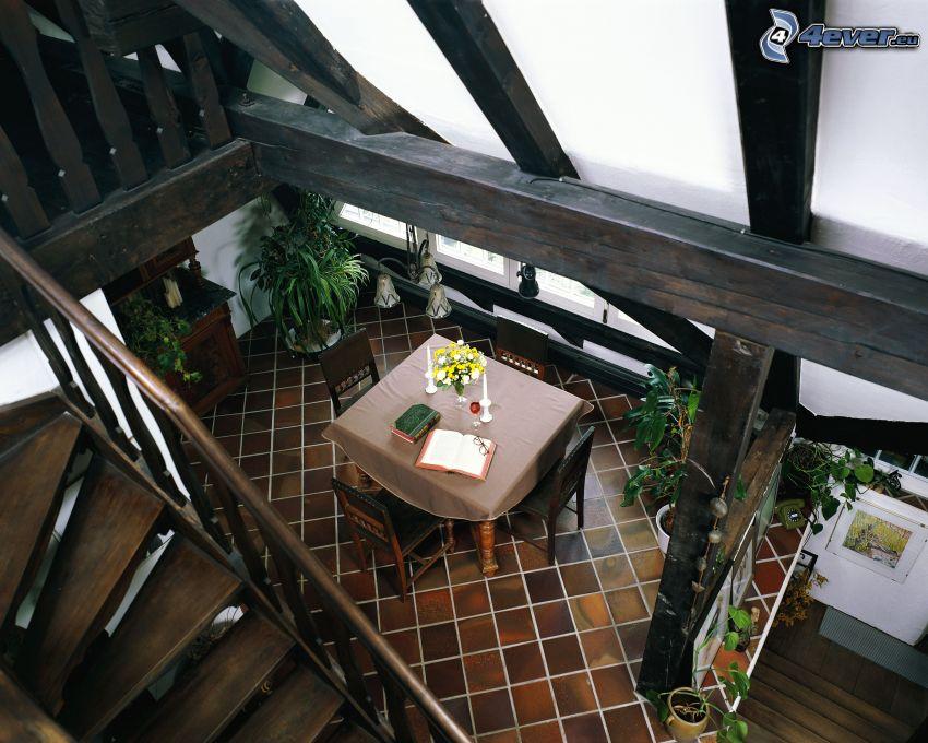 jadalnia, schody, nakryty stół, wnętrze