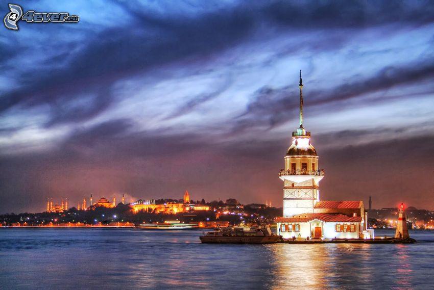 Kiz Kulesi, miasto nocą, wyspa, morze