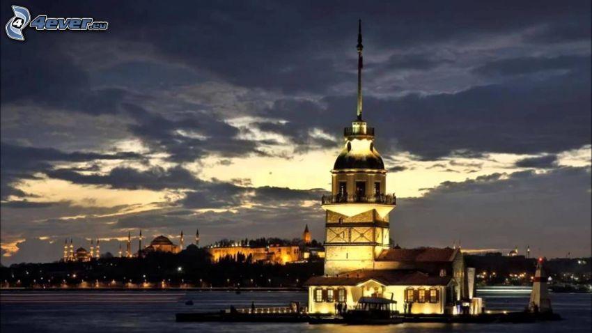 Kiz Kulesi, miasto wieczorem, wyspa, morze
