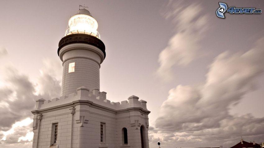 latarnia morska, czarno-białe zdjęcie