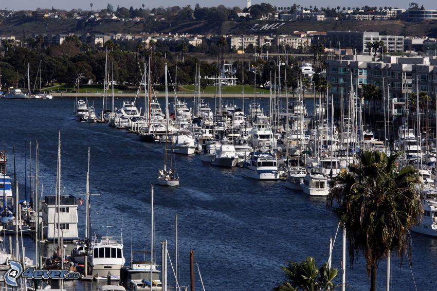Marina Del Rey, port, statki, Kalifornia