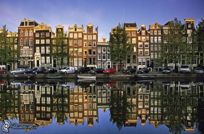 Amsterdam, kanał, domy, odbicie