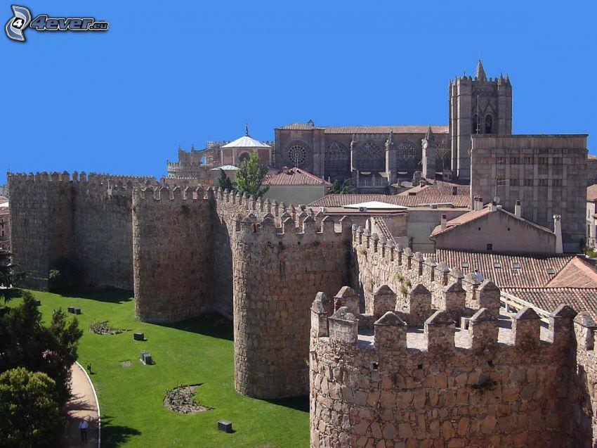 Ávila, Hiszpania, mury obronne, mury