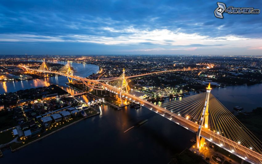 Bangkok, most, miasto wieczorem
