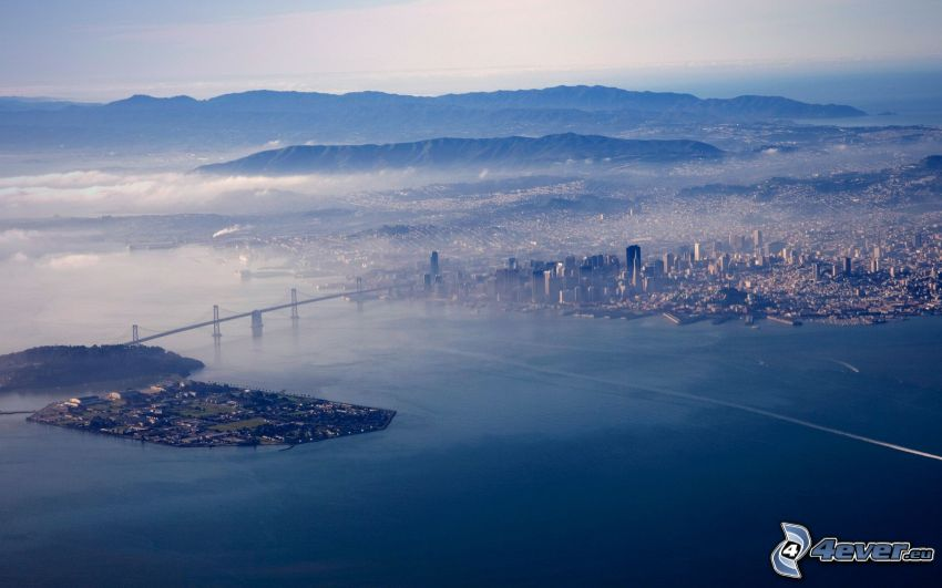Bay Bridge, Yerba Buena Island, San Francisco, widok na miasto, widok z lotu ptaka