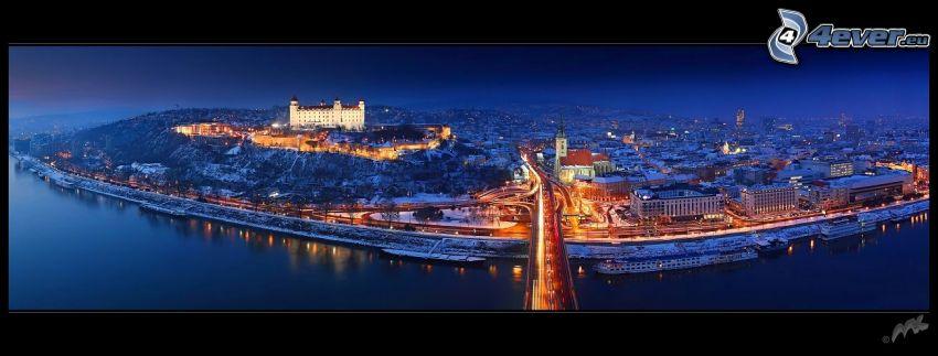 Bratysława nocą, Nový Most, Bratysławski Zamek, Katedra Świętego Marcina, Dunaj