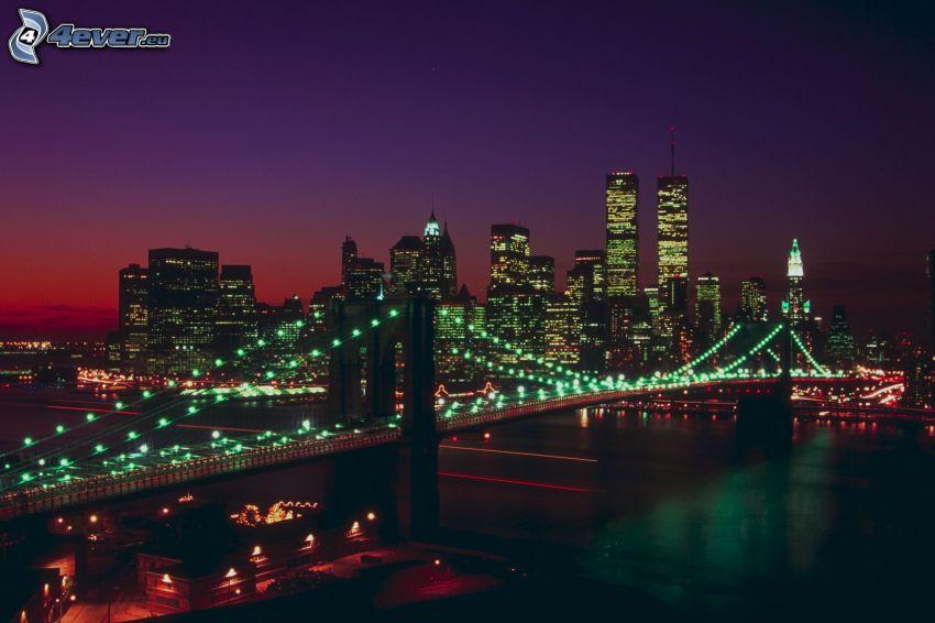 Brooklyn Bridge, Manhattan, New York, miasto nocą, oświetlony most