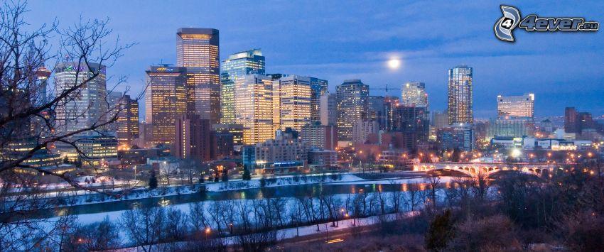 Calgary, miasto nocą, rzeka, księżyc