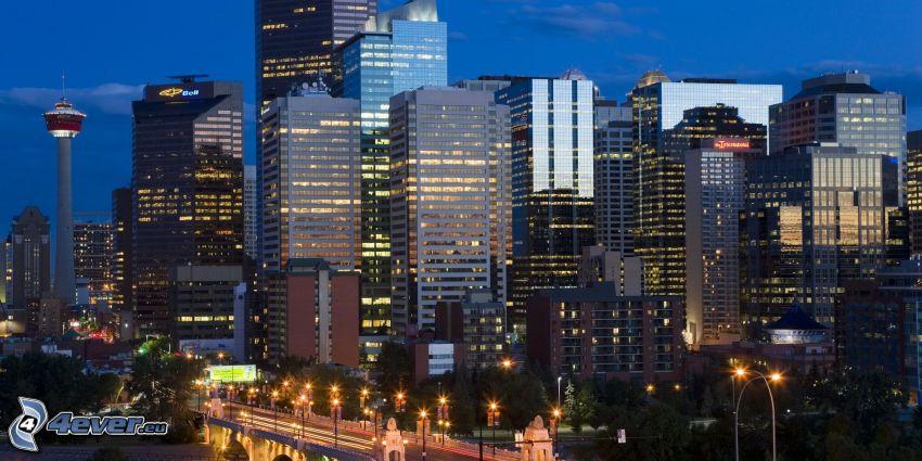 Calgary, wieżowce, miasto nocą