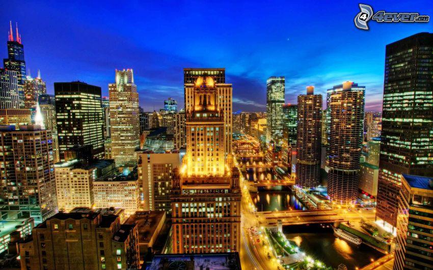 Chicago, miasto wieczorem, HDR