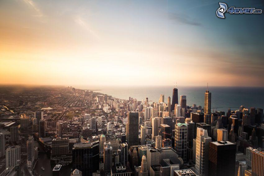 Chicago, piękny poranek, widok na miasto