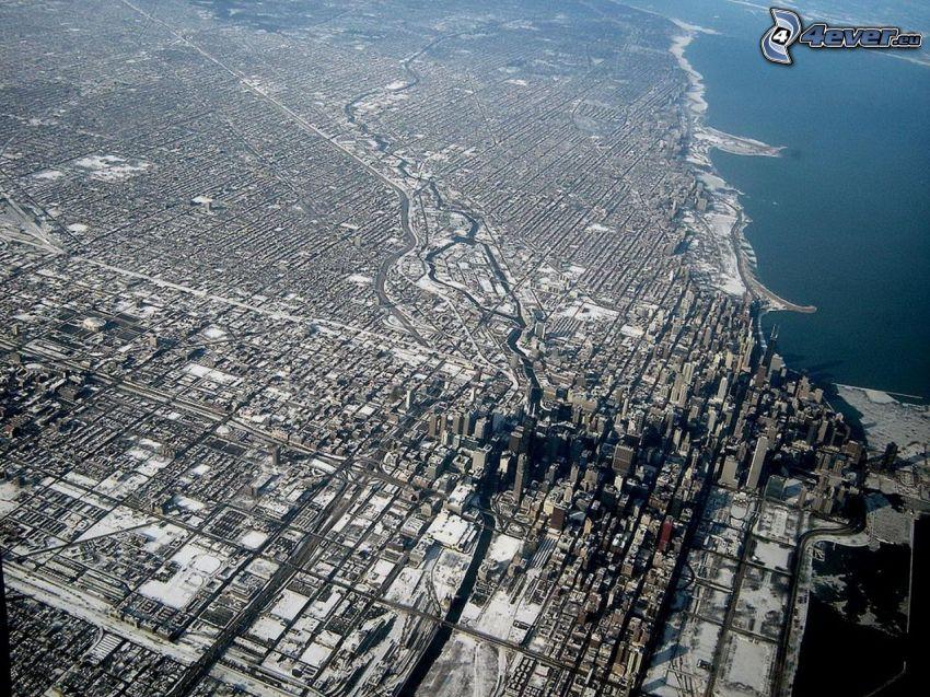 Chicago, widok z lotu ptaka, Jezioro Michigan
