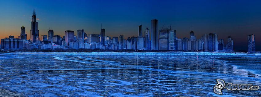 Chicago, zamarznięte jezioro, Jezioro Michigan, Willis Tower, panorama