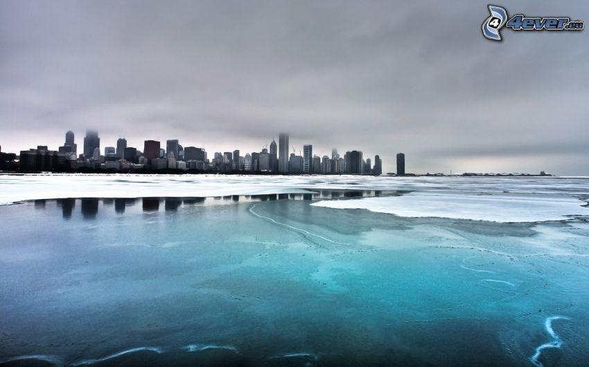 Chicago, zamarznięte jezioro, mgła, Jezioro Michigan