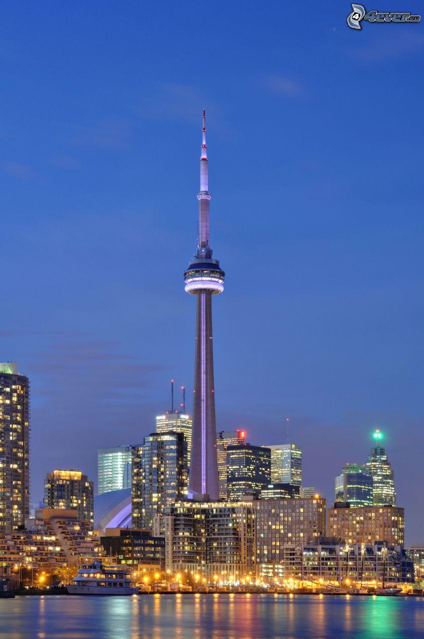 CN Tower, Toronto, miasto nocą