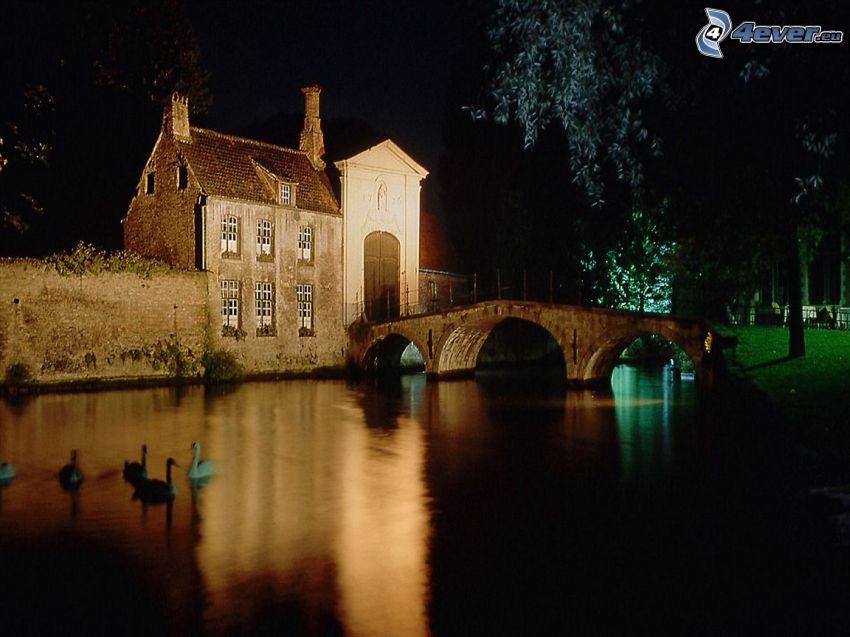 domek przy wodzie, ciemność, kamienny most, łabędzie