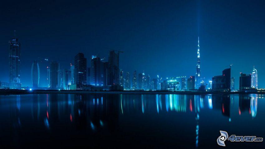 Dubaj, miasto nocą, wieżowce, Burj Khalifa