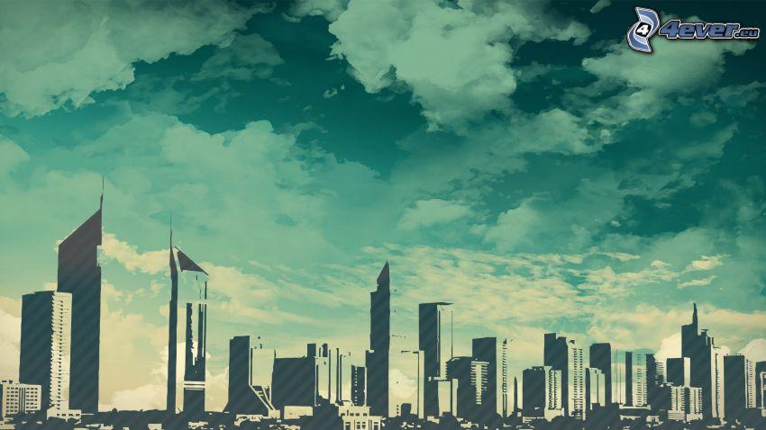 Dubaj, rysunkowe miasto, chmury, wieżowce