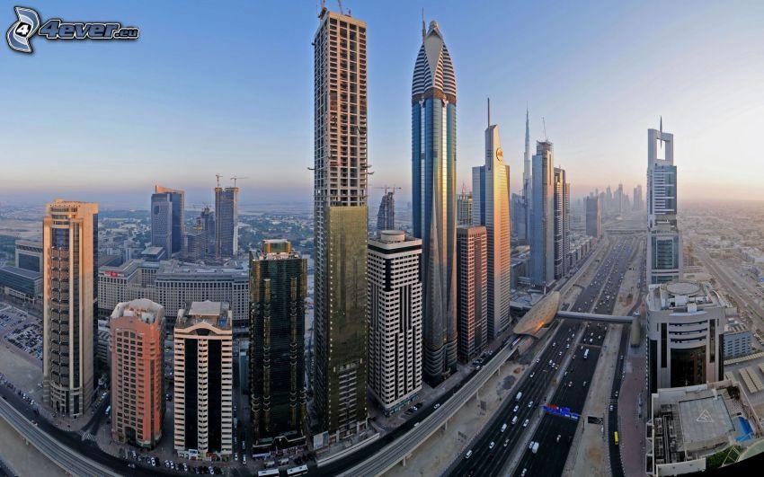 Dubaj, wieżowce, autostrada