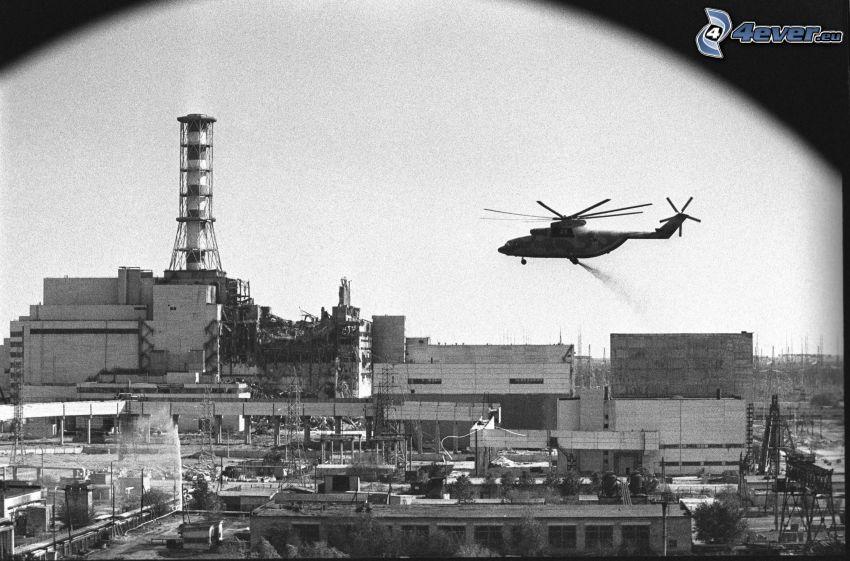 elektrownia jądrowa, śmigłowiec, Czarnobyl, czarno-białe zdjęcie