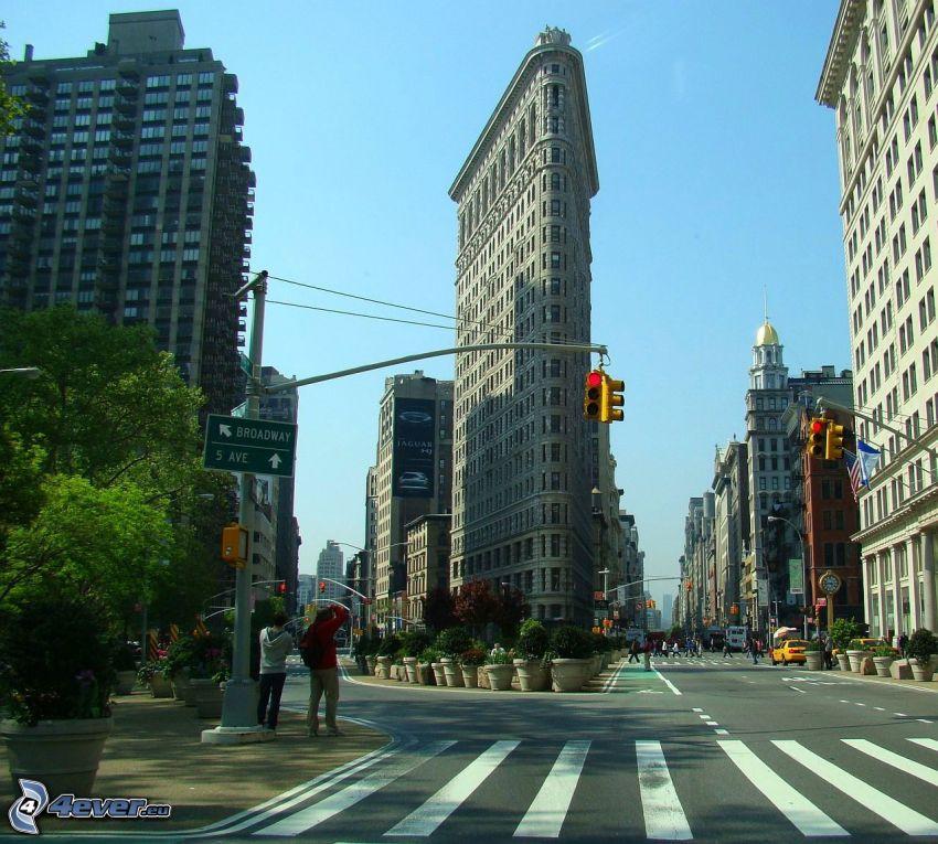 Flatiron, Manhattan, ulice, semafor